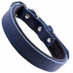 GogiPet ® Comfort leather dog collar blue with 40 cm