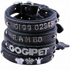 GogiPet ® Individual name dog collar made of real leather black with 40 cm