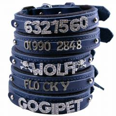 GogiPet ® Individual name dog collar made of real leather blue with 40 cm
