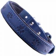 GogiPet® leather dog collar blue with paws