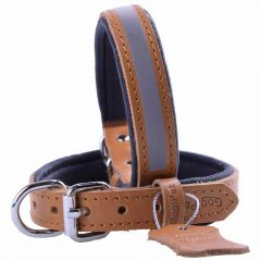 GogiPet ® Reflector leather dog collar camel brown with 45 cm
