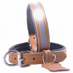 GogiPet ® Reflector leather dog collar camel brown with 40 cm