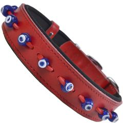 Handmade GogiPet® Nazar eye leather dog collar red