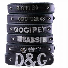 Black leather dog collars for rhinestone letters, numbers and motives with soft lining