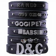 GogiPet ® Individual name dog collar made of real leather black 50 cm with 3 adapters