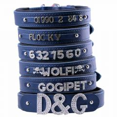 Blue leather dog collars for rhinestone letters, numbers and motives with soft lining