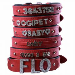 Red leather dog collars for rhinestone letters, numbers and motives with soft lining