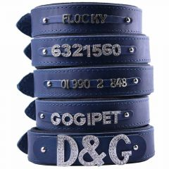 GogiPet ® Individual name dog collar made of real leather blue 70 cm with 3 adapter