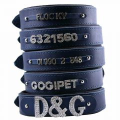 GogiPet ® Individual name dog collar made of real leather blue 65 cm with 3 adapters