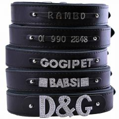 GogiPet ® Individual name dog collar made of real leather black 65 cm with 3 adapters