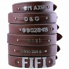 Brown leather dog collars for rhinestone letters, numbers and motives with soft lining