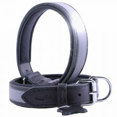 GogiPet ® Reflector Leather dog collar black with 40 cm
