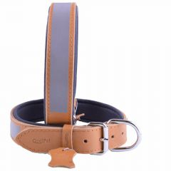 GogiPet ® Reflector leather dog collar camelbraunes with 55 cm