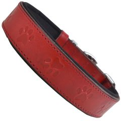 GogiPet® comfort leather dog collar red with 3D paws