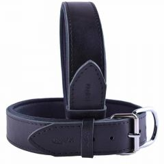 GogiPet ® Comfort leather dog collar black with 65 cm