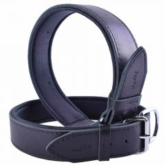 GogiPet ® Comfort leather dog collar black with 55 cm