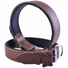 GogiPet ® Comfort leather dog collar brown with 75 cm