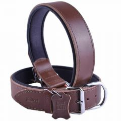 GogiPet ® Comfort leather dog collar brown with 55 cm