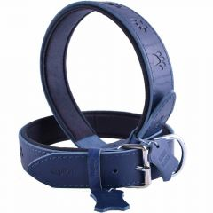 GogiPet ® Leather dog collar blue with paws 60 cm