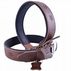 GogiPet ® Leather dog collar brown with paws 75 cm