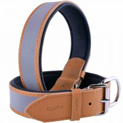 GogiPet ® Reflector Leather dog collar light brown with 65 cm
