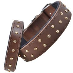 Handmade Swarovski comfort leather dog collar brown
