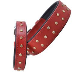 Handmade Swarovski comfort leather dog collar red