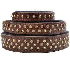 Handmade Swarovski luxury leather dog collar brown
