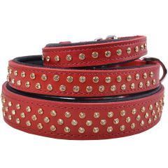 Handmade Swarovski luxury leather dog collar red