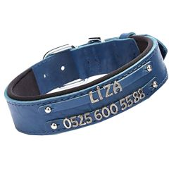 Double row name collar from GogiPet - Blue comfort dog collar for letters and numbers to make your own