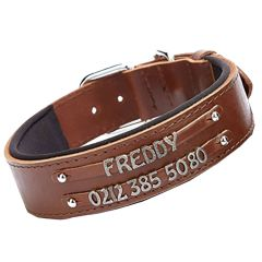 Double row name collar by GogiPet - Brown comfort dog collar for letters and numbers to make your own