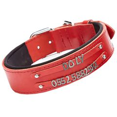 Double row name collar from GogiPet - Red comfort dog collar for letters and numbers to make your own