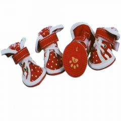 dog shoes red with white polka dots