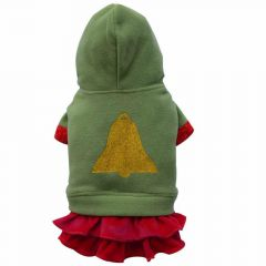 dog clothes - green christmas coat with skirt