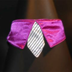 violet collar with white tie for dogs - GogiPet ®  size L