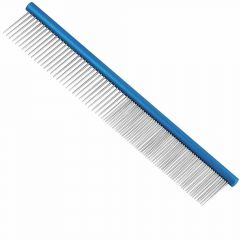 Vivog dog comb 25 cm - half close teeth half wide teeth blue  Hundekamm 25 cm blau