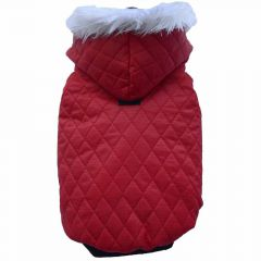 red dog coat of DoggyDolly - warm quilt jacket for dogs with hood and white fur border of DoggyDolly W042