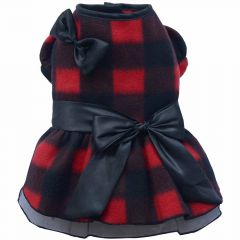 beautiful, warm dog dress black red cross-hatched from Fleece of DoggyDolly W104