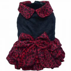 DoggyDolly W192 - luxury dog dress leopard red