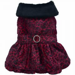 Luxury dog dress - red Leopard of DoggyDolly dog fashions