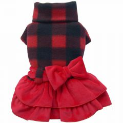 Luxury dog dress by DoggyDolly red plaid dog dress