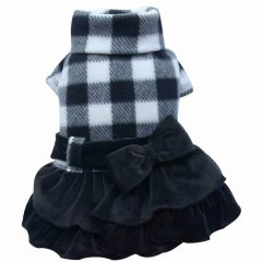 Luxury dog dress on fleece black white checkered