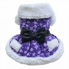 Luxury dog dress purple for winter
