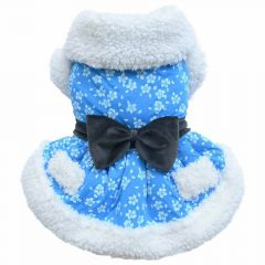 blue dog dress for winter luxury dog dress by DoggyDolly W288
