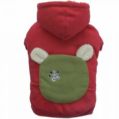 Red dog sweater with hood with dog jacket shape