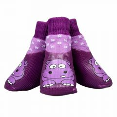 Funny dog shoes - lovely dog rubber boots with purple hippos