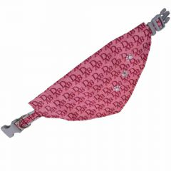 Dogs triangle scarf pink with paws L