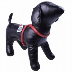 GogiPet ® Swarovski dog harness made of red float leather M