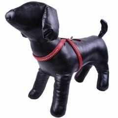 GogiPet ® Swarovski dog harness made of red floater leather XL