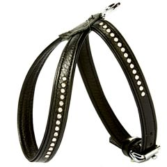 Wonderful Swarovski dog harness made of black floater leather - GogiPet Swarovski dog harness
